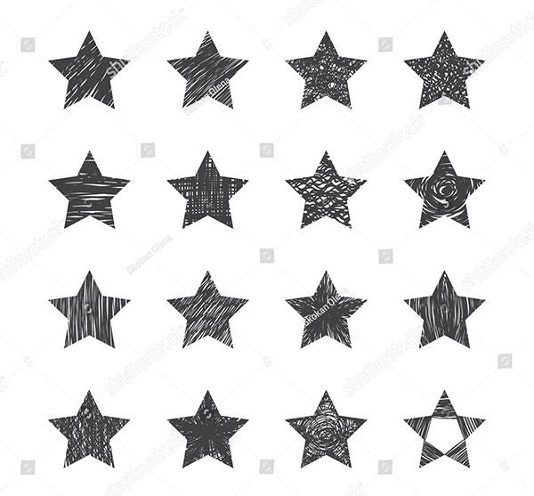 Set of HandDrawn Stars